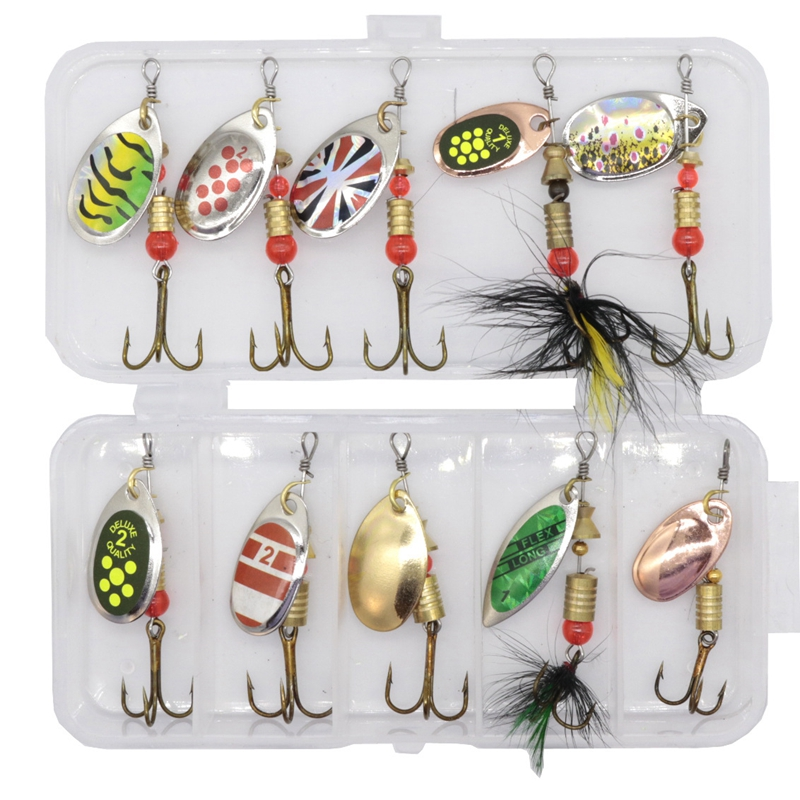 10pcs/set Metal Fishing Lure Spoon Lure With Plastic Fishing Tackle Box Hard Bait Spinner Bait