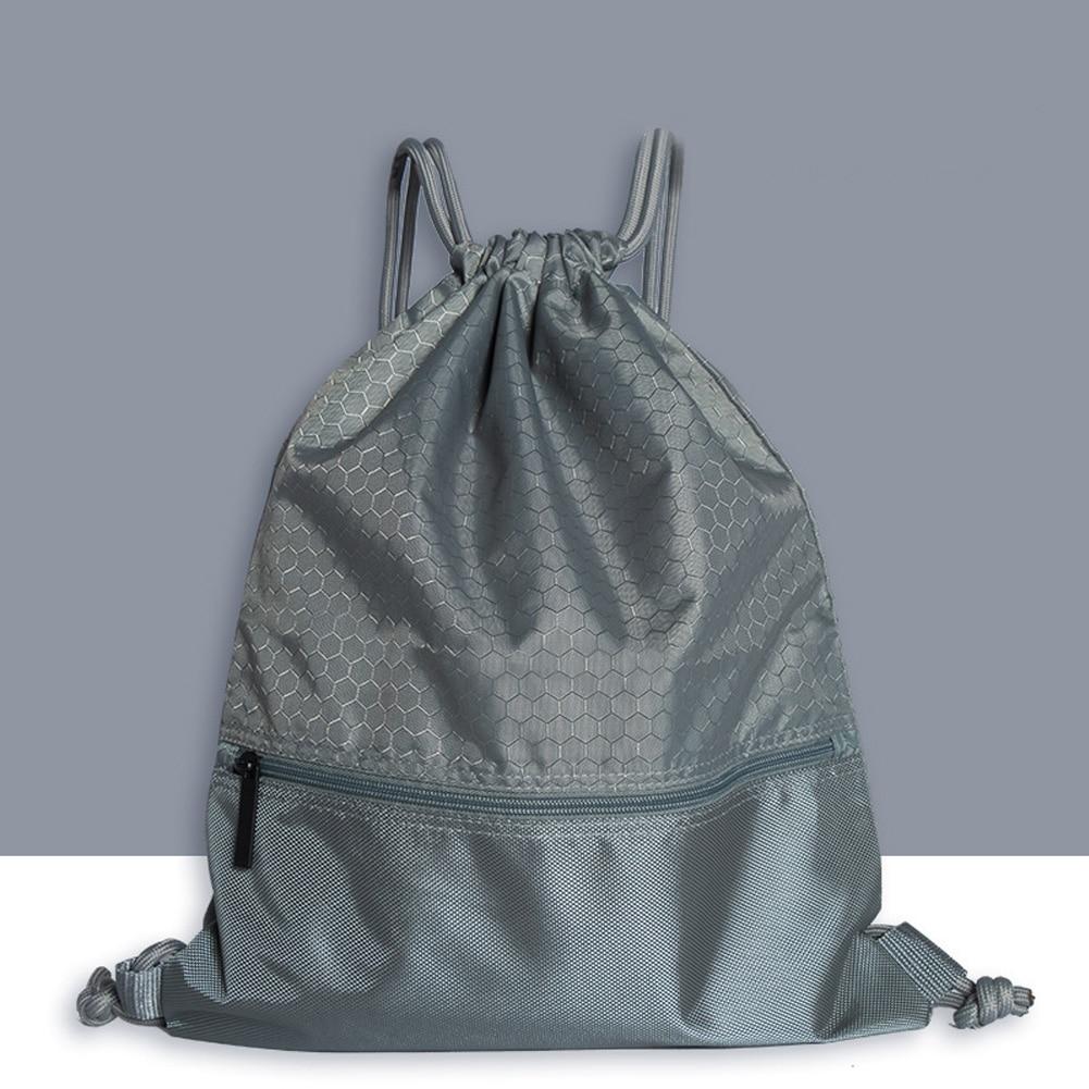 Women Men Riding Fashion Outdoor Practical Nylon Sports Backpack Solid Large Capacity Travel Drawstring Lock Anti-splash