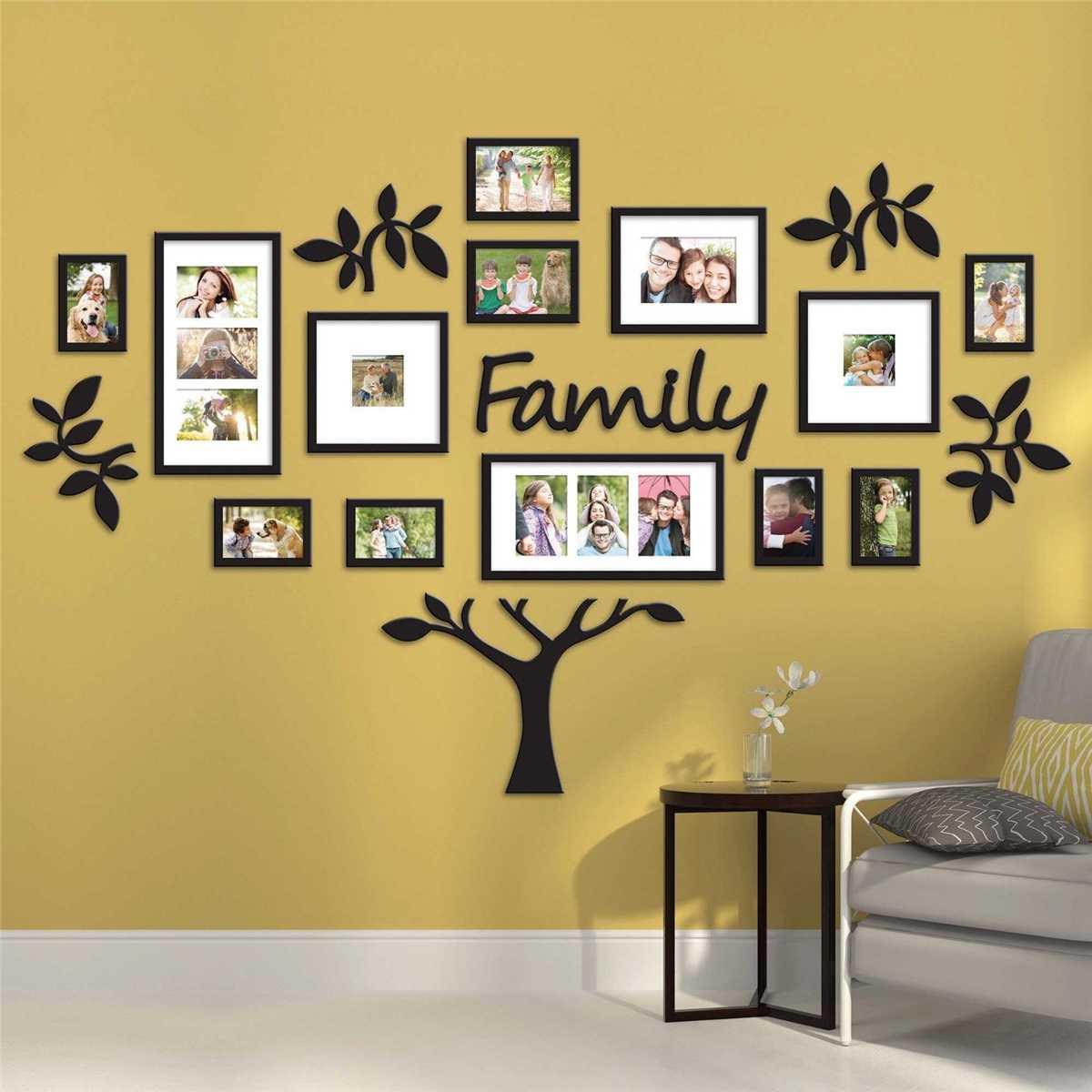 Bricolage acrylique Stickers muraux famille Photo cadre arbre mur autocollant décor maison salon chambre Art Photo cadre Stickers muraux affiche
