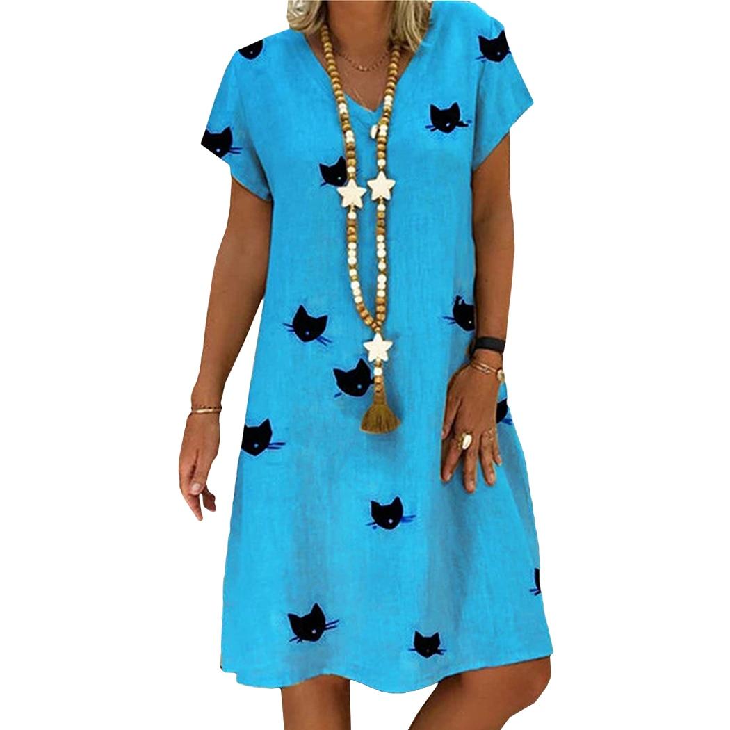 2019 Cat Verão Imprimir Vestidos Mulheres Estilo Solto Vestido de Linho de Algodão Ocasional Plus Size Feminina Decote Em V Vestido Feminino Vestidos