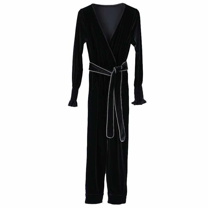 TWOTWINSTYLE бархатные комбинезоны женские с v-образным вырезом и длинным рукавом с высокой талией, со шнуровкой, длиной до щиколотки, женские элегантные модные 2019 осенние