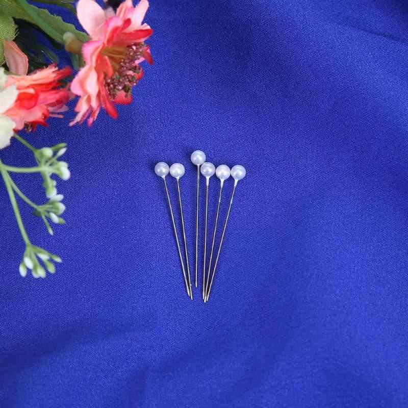 100 pcs Rodada Agulhas De Costura Costurar Pinos de Cabeça Pérola Buquê de Noiva Do Casamento Acessórios