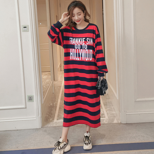 #4944 Blue And Red Stripe T Shirt Dress Women Plus Size Long Sleeve Round Neck Cotton Long Dresses Womens Clothing Letter Print