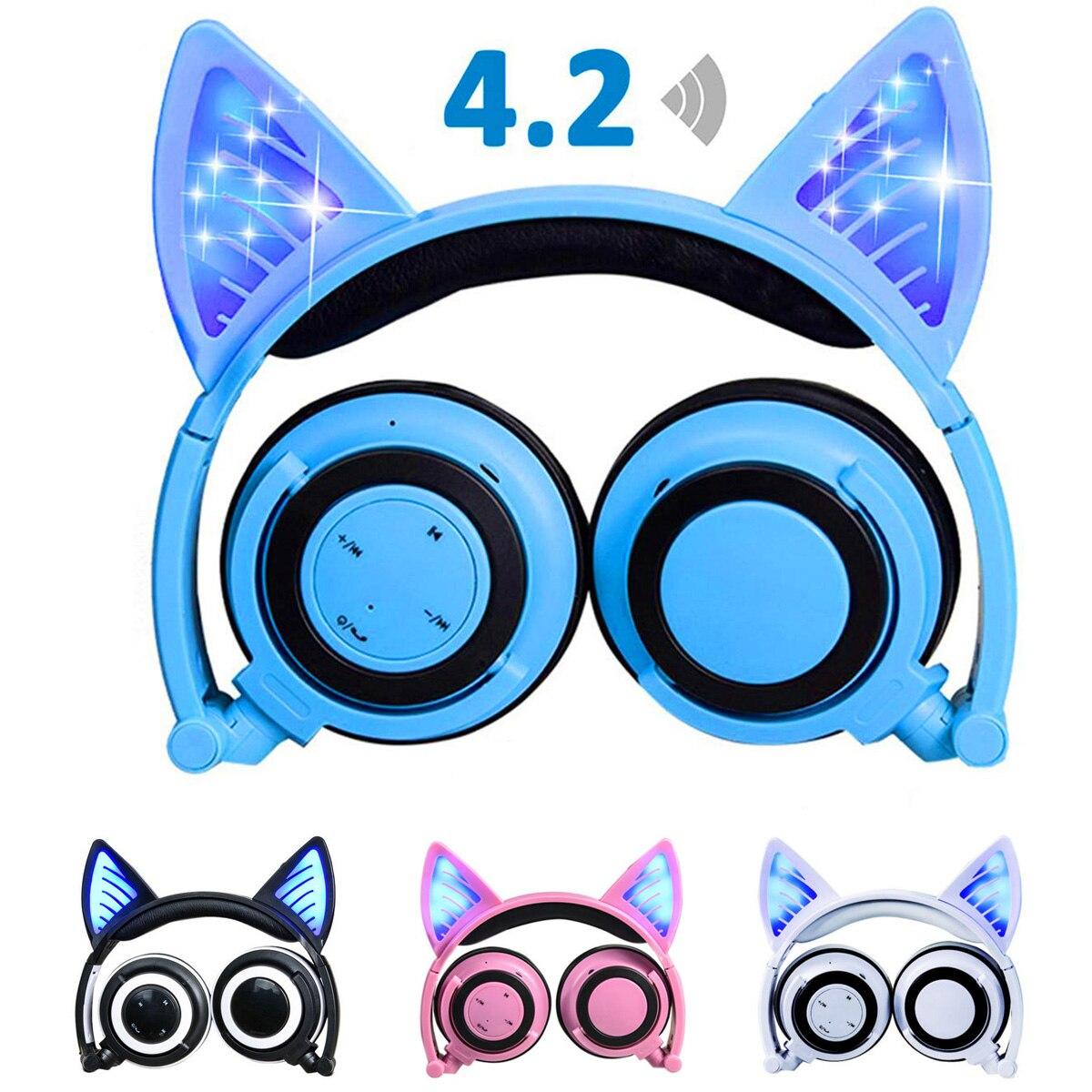 Bluetooth Stereo Cat Ear Headphones Flashing Glowing cat ear headphones Gaming Headset Earphone LED light