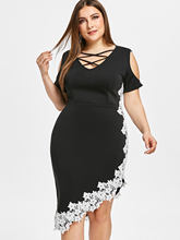 Kenancy Plus Size Strap Asymmetrical Women Bodycon Dress Summer Hollow Out Criss Cross Lace Crochet High Waist Party Dress(China)