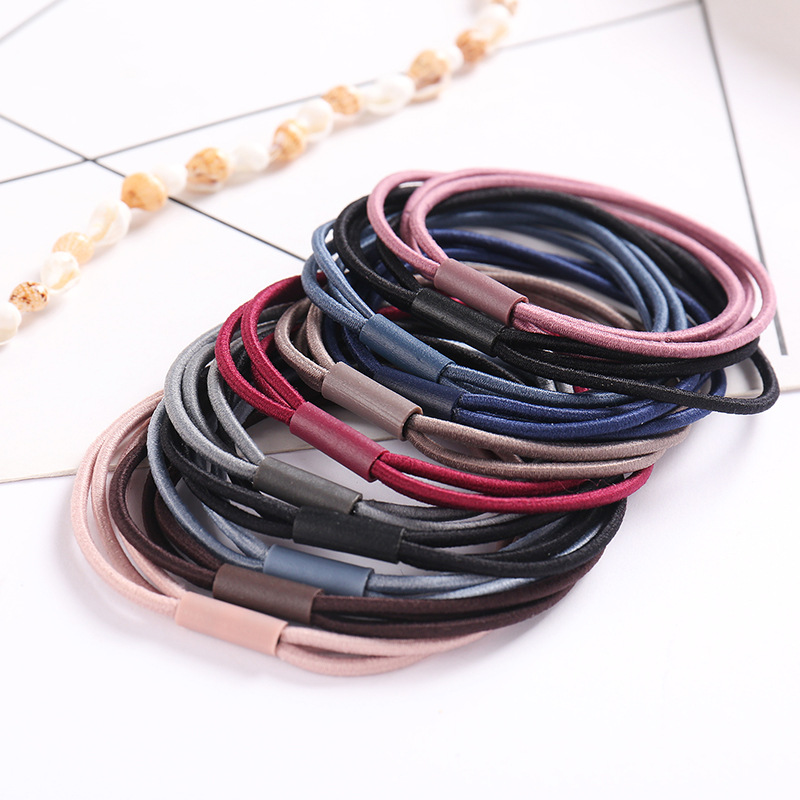 New 10 Piece/ Lot Three-in-One Base Hair Accessories Women Girl Rubber Bands Scrunchy Elastic Hair Bands Hair Rope Gum For Hair