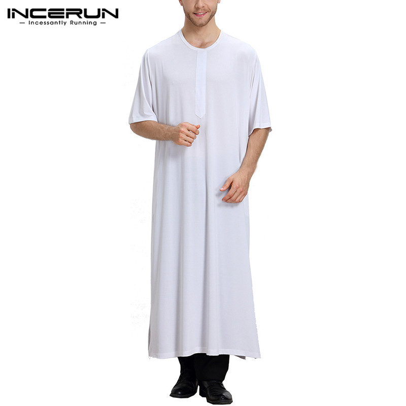 INCERUN Islamic Muslim Arab Kaftan Men Half Sleeve Solid Vintage Middle East Male Robes Dubai Saudi Arabia Men Thobe Polyester