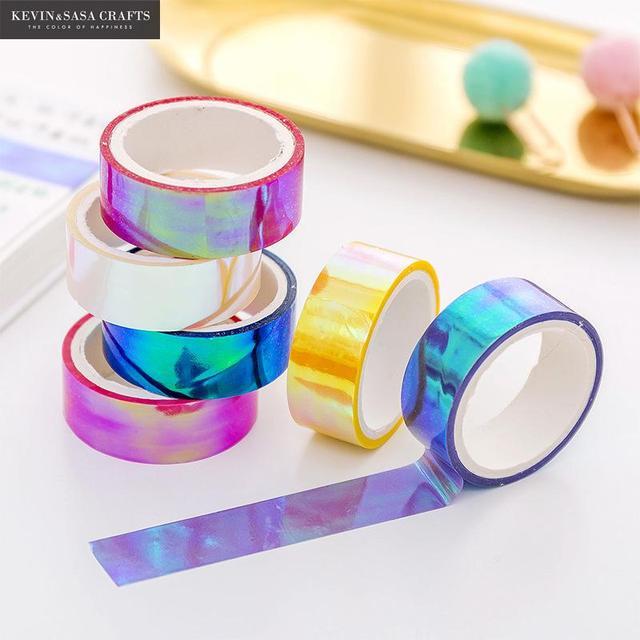 Juego de 6 colores Arco Iris láser Washi cinta brillo papelería Scrapbooking cinta adhesiva decorativa DIY cinta adhesiva suministros escolares