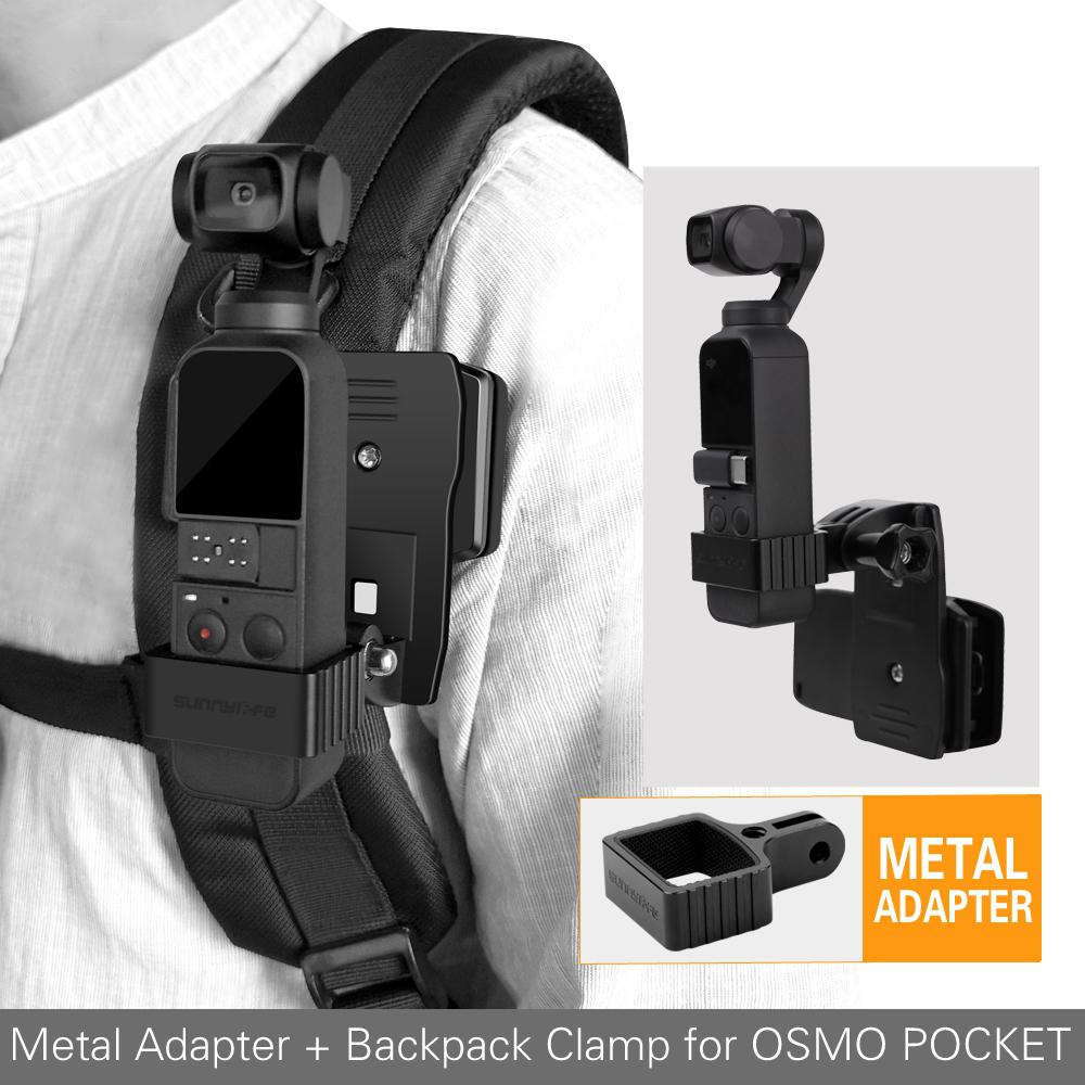 Aluminum Alloy <font><b>Adapter</b></font> Kit Backpack Bracket Clamp Clip Mount For DJI OSMO POCKET Gimbal <font><b>GOPRO</b></font> Camera Metaladapte R29 image