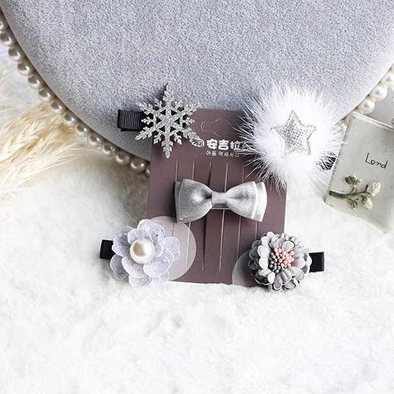 301ac83d62a1a ... BalleenShiny 5PCS Glitter Sequin Bows Hairpins Set Infant Baby Girls  Cute Princess Flower Star Hair Clips