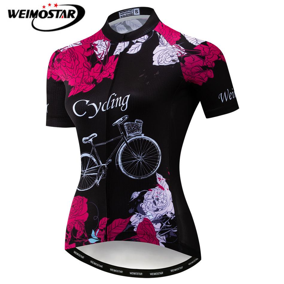 Weimostar Cycling Jersey 2019 Women Summer Short Sleeve Bicycle Clothing Team Cycling Shirt Breathable MTB Bike Jersey Top Mujer