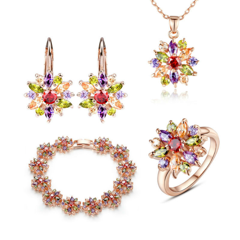 3 Colors Rose Gold Color Bridal Jewelry Sets & More For Women Wedding With High Quality Aaa Zircon BAMOER BAMOER