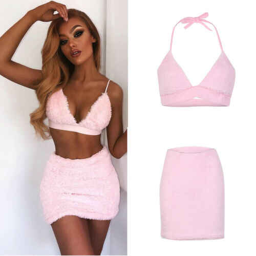 2019 Fashion 2PCS/Set Womens Sleeveless Bandage Crop Top Bra+Midi Skirt Bodycon Mini Dress US