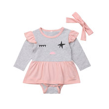2PCS Newborn Baby Girls Ruffle Romper Dress Jumpsuit Headband Outfit Clothes Sets Long Sleeve Cotton Romper Baby Clothes Sets(China)