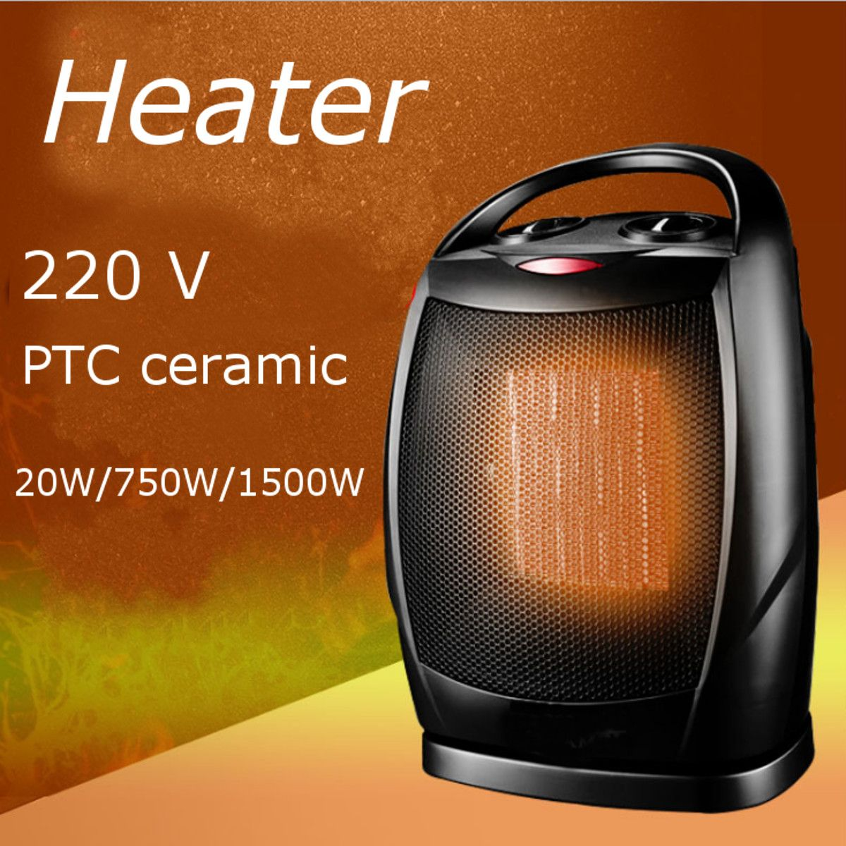 Indoor PTC Ceramic Electric Portable Heater Mini Energy Saving Desktop Fan Heater Shake Head Radiator Warmer With Thermostat