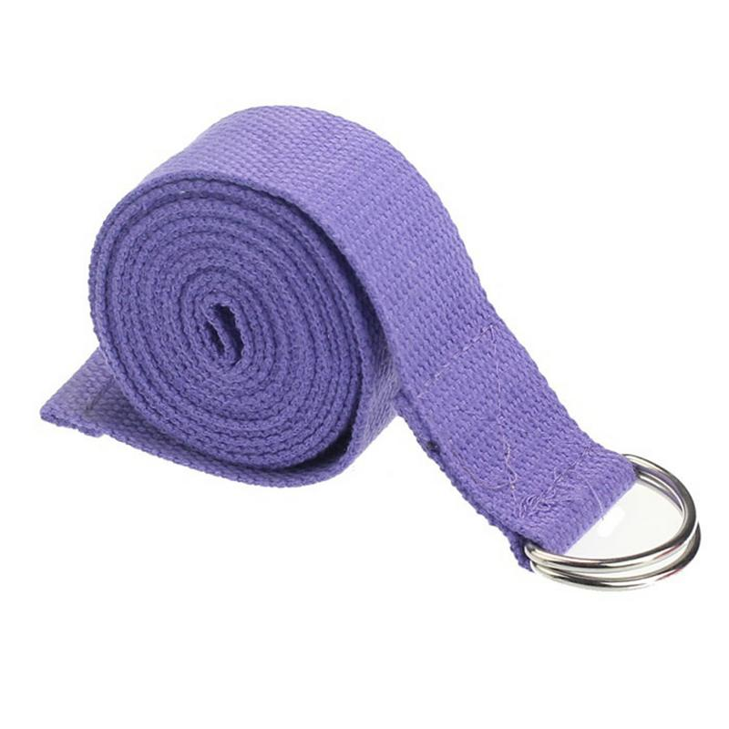 183cm Blend Cotton Sports Waist Legs Yoga Fashionable Cotton Stretching Strap Adjustable Solid Durable Tension Belt With Ring