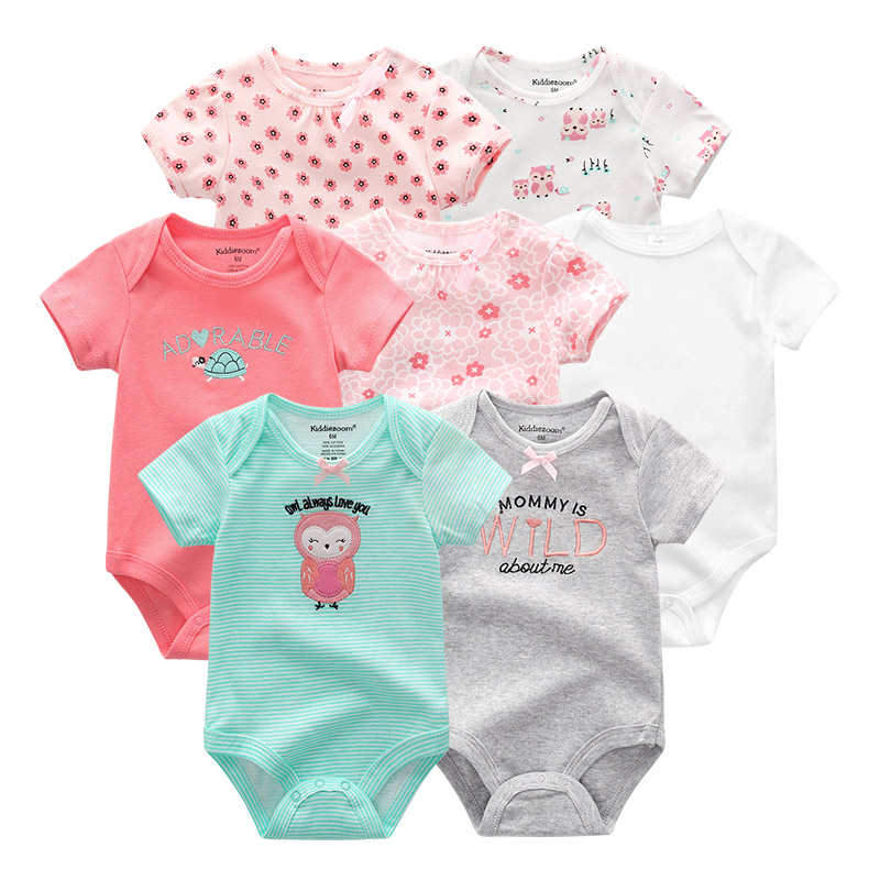Image 3 - 2019 7PCS/lot Newborn Baby Girl Clothes Baby Boy Clothes Cotton Unicorn Bodysuits Jumpsuit Ropa bebe Short Sleeve Black White-in Rompers from Mother & Kids