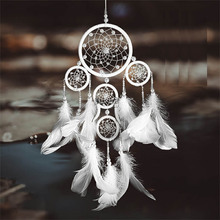 Ivory five-ring pearl crystal dream catcher wedding decoration interior  bedside decoration gift home decoration pendant wedding decoration inflatable lighting ivory