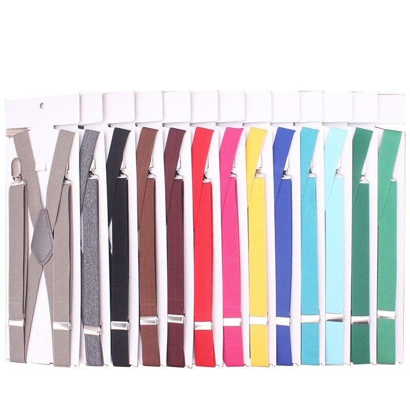4 Clips Multi Color Men's Suspenders 2.5cm Women's Pants  Brace With Adjustable Buckle