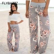 Women Print Boot Cut Pant High Waist Elastic Wide Leg Pants Lace Up Fitness Loose Gym Sports Yoga Pant Streetwear Plus Size 0-16 цены