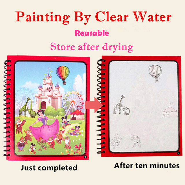 Montessori Coloring Book Doodle & Magic Pen Painting Drawing Board For Kids Toys Magic Water Drawing Book Birthday Gift 2