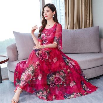 c0b1dc5cc Albaricoque flores rojo dama vestido de verano de 2019 las nuevas mujeres  de manga corta estampado Floral temperamento largo de gasa vestidos de M-3XL