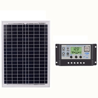 Black 60A 18V 20W Solar Panels + 60A 12V/24V Solar Controller With Usb Interface automatic intelligent solar charge controller