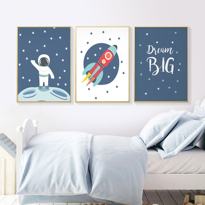 Astronaut Space Wall Art Canvas Poster Nursery Print Minimalist Painting Decorative Picture Nordic Baby Boys Bedroom Decoration