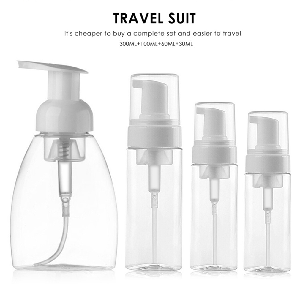 30/60/100/150/300ml Clear Empty Cosmetic Refillable Pump Bottle Soap Foaming Dispenser Cream Lotion Liquid Bottle With Stickers