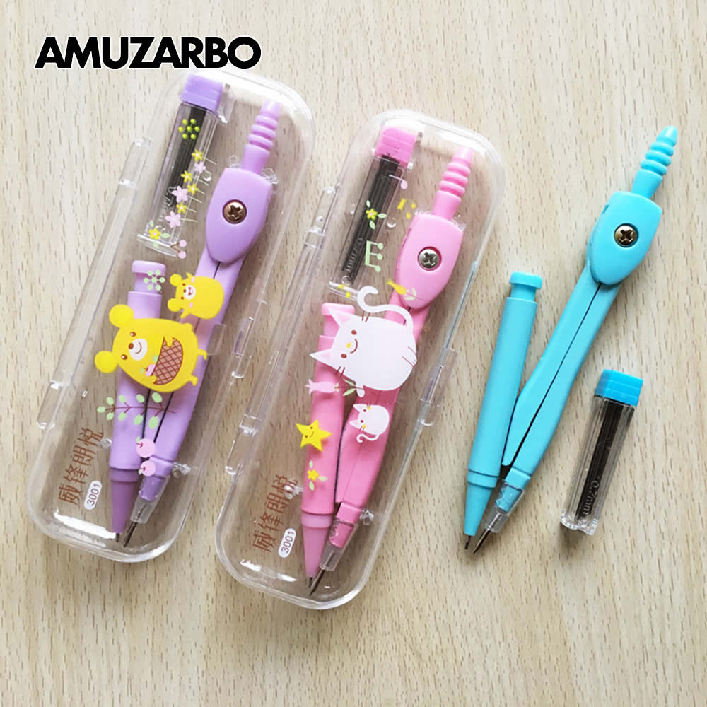 School Drawing Compass Cute Girl's Stationery Student Drawing Compasso Geometry Set A Math Geometry Tools Drafting Tools