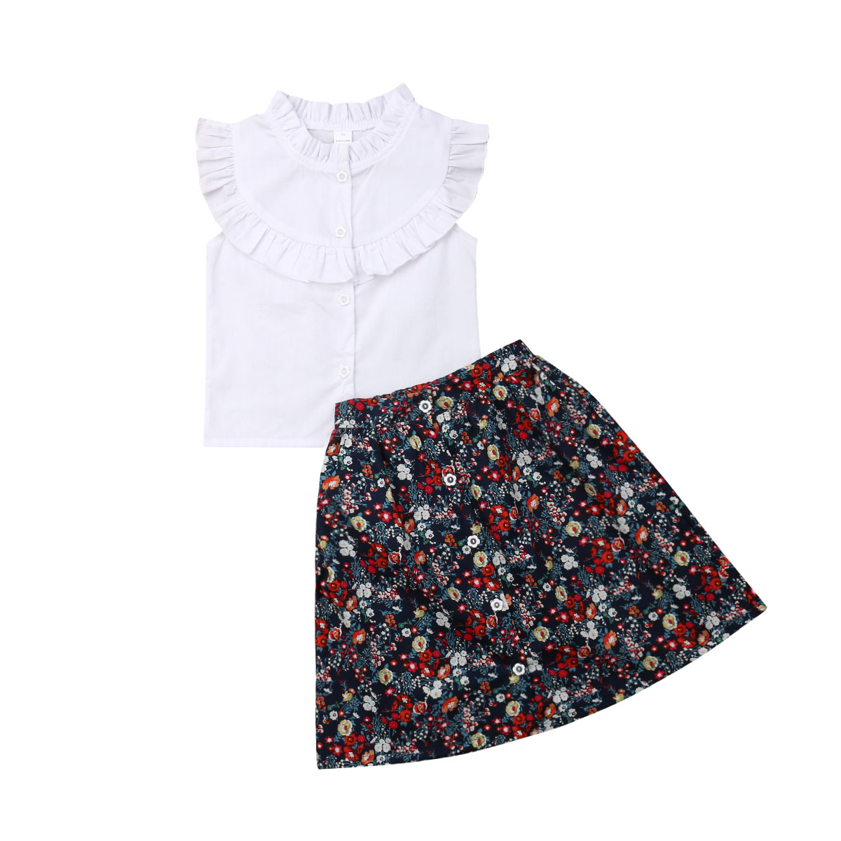 And Great Variety Of Designs And C Full Range Of Specifications And Sizes The Cheapest Price 2019 Newest Style Children Kids Baby Fashion Girl Summer Ruffle Tops T-shirt Floral Skirt Outfits Clothes Set Size 2-7years Famous For High Quality Raw Materials