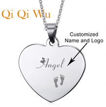 все цены на Customized Engraved Stainless Steel Heart Shaped Pendant Personalized Necklace with any message онлайн