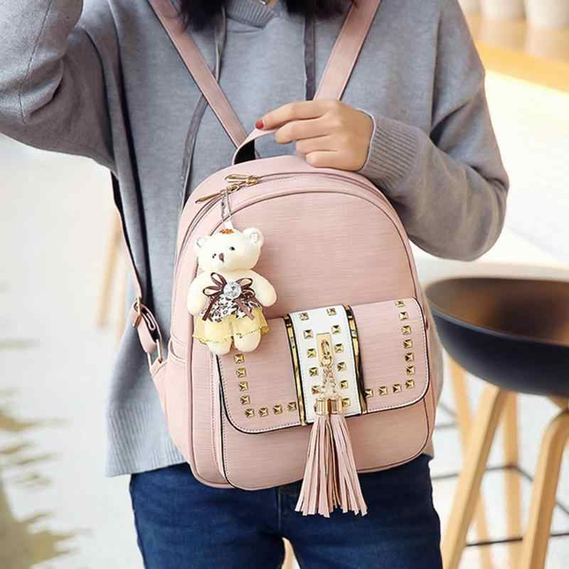 3 pçs/set mochila feminina de couro do plutônio mochila adolescente meninas mochilas ruck bolsa ombro sacos escola estudante feminino borla