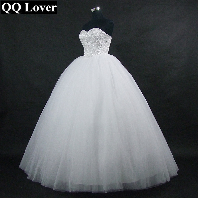 QQ Lover 2019 New Strapless Puffy Tulle Ball Gown Wedding Dress Beaded Vestido De Noiva Lace-up Back Robe De Mariage White Gowns