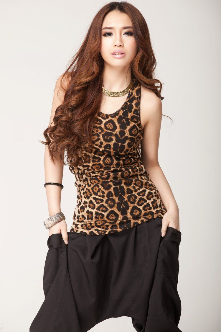Hirigin Women Casual Leopard Print Vest Sleeveless O-neck Camis   Tank     Tops   Summer