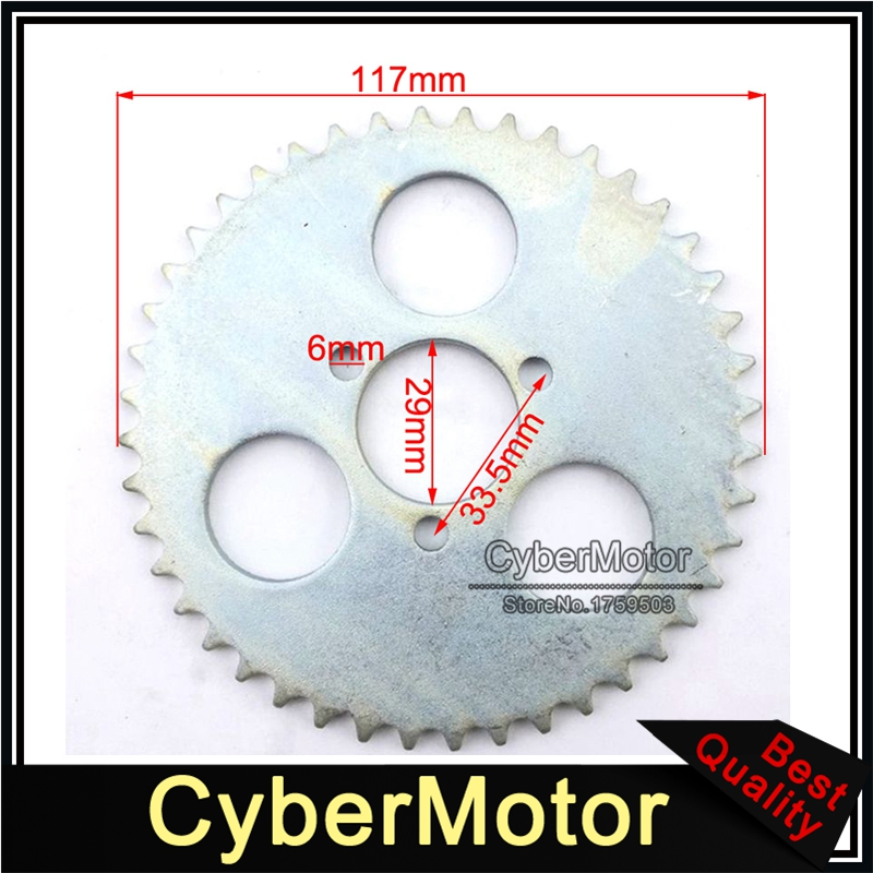 29mm 44 Tooth T8F Rear Chain Sprocket For 2 Stroke 43cc 49cc Engine Chinese  Mini Moto Kids ATV Quad Pocket Bike Goped Scooter