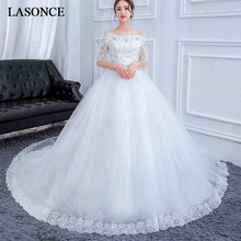 LASONCE Crystal Boat Neck Lace Appliques Ball Gown Wedding Dresses Illusion Half Sleeve Court Train Bridal Dress