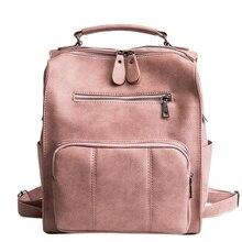 Women Leather Backpack Female Teenage Girls School Backpacks Vintage Large Multifunction Mochila Solid Shoulder Bag