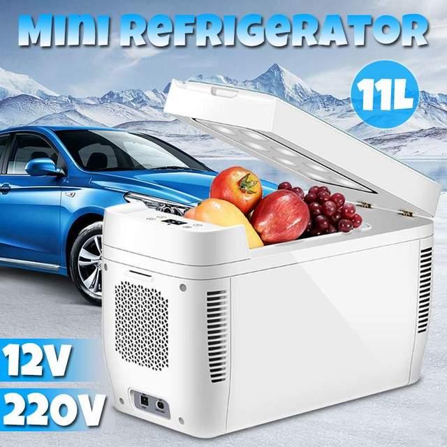 11L Mini รถบ้านใช้ Dual   core ตู้เย็นแบบพกพา Low Noise Car ตู้เย็นตู้แช่แข็ง Cooling ตู้เย็น DC 12 V 220 V