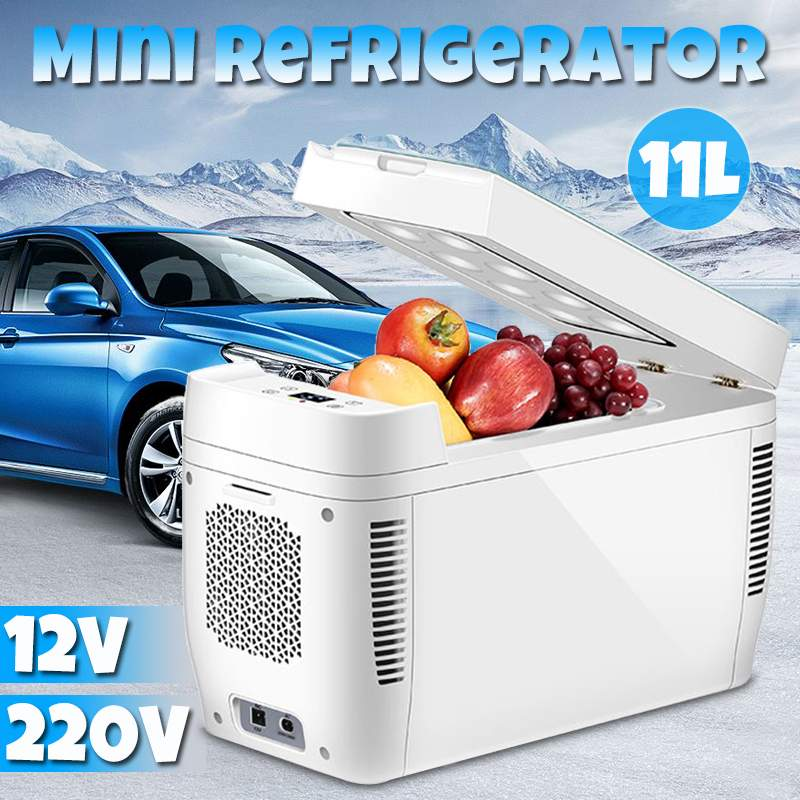11L Mini Home Car Use Dual-core Refrigerators Portable Low Noise Car Refrigerators Freezer Cooling Box Fridge DC 12V 220V