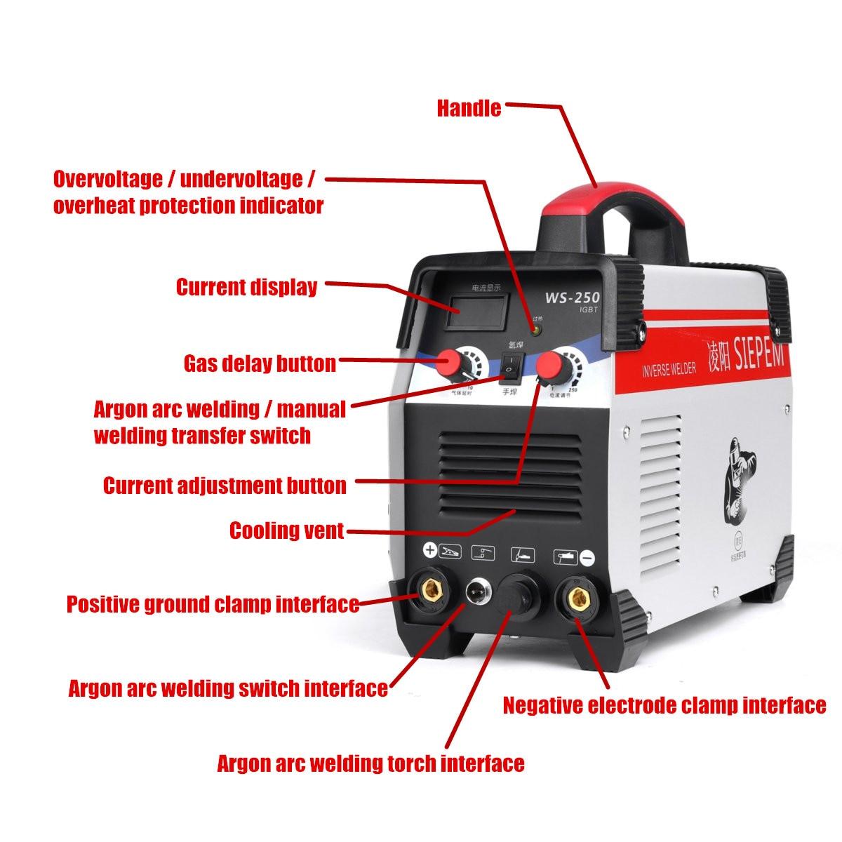 220V 250A IGBT spawarka TIG maszyna do spawania falownik spawalniczy