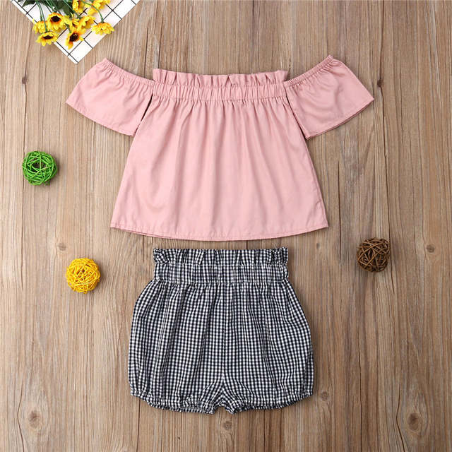 5fc4c85ec702f 1-6T Toddler Kids Baby Girl Clothes set Boho Beach Summer Off-Shoulder Top  Shorts set Cute Princess Playa Kawaii Outfit