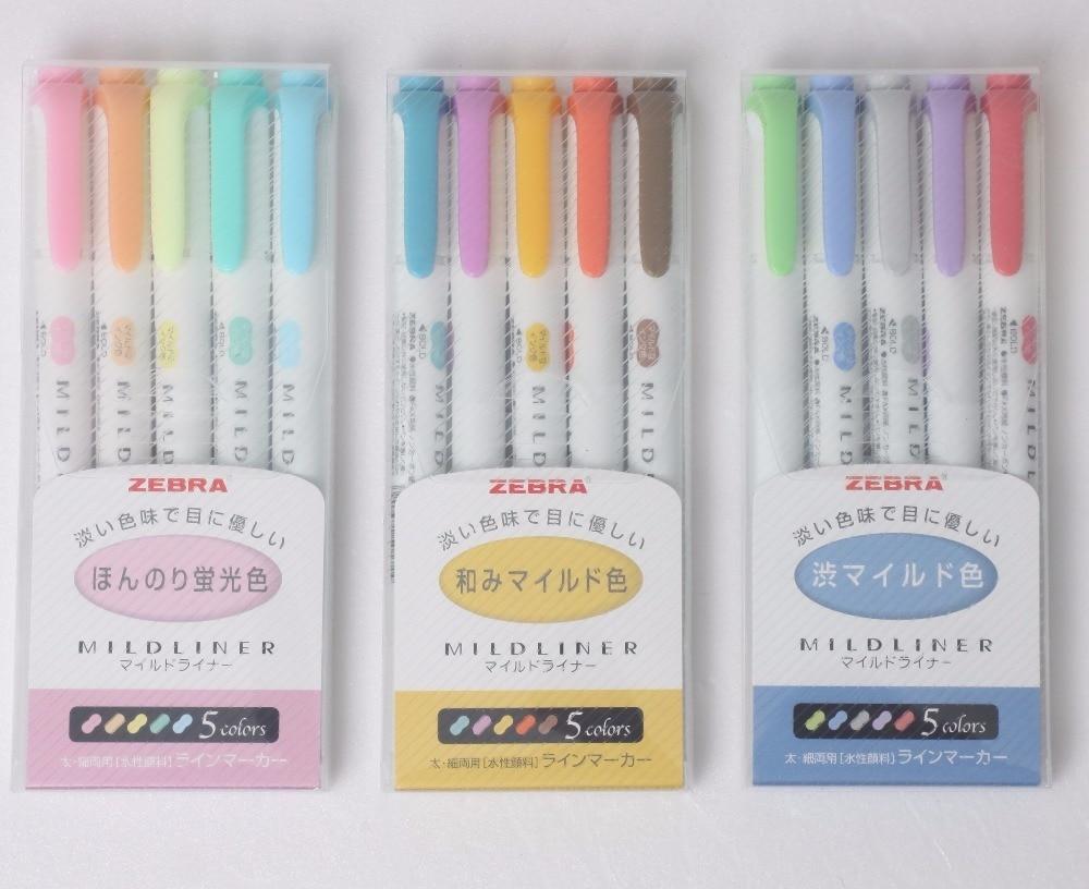 15-Colors 3 SET ZEBRA WKT7 Mildliner Soft Color Double-Sided Highlighter Pen Round Toe/Oblique School Office Supply