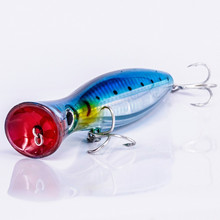 Купить с кэшбэком High Quality 4 Colors 3D eyes 12cm 42G Big Fishing Lure Hard Popper Lure Wobblers  Deep Sea Fishing Whopper Plopper treble hooks
