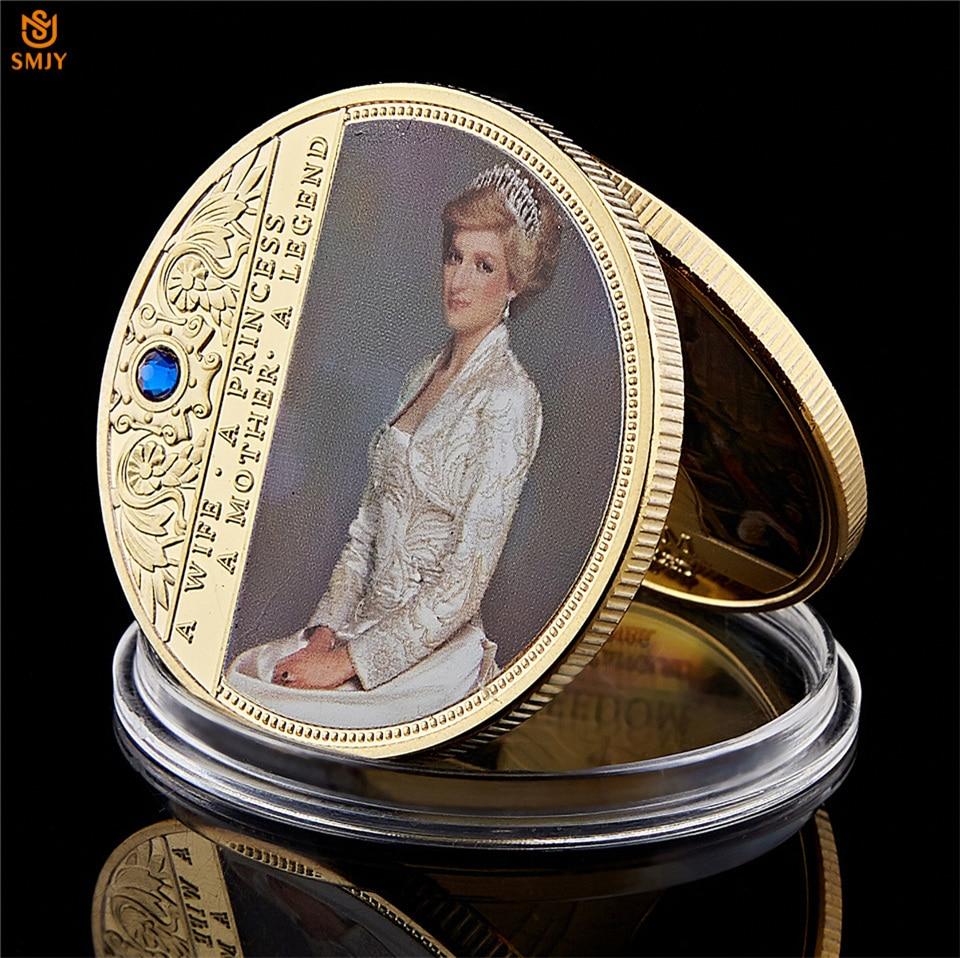 Последняя Роза, британская принцесса Диана, позолоченная копия, королева, памятная монета, коллекционная стоимость