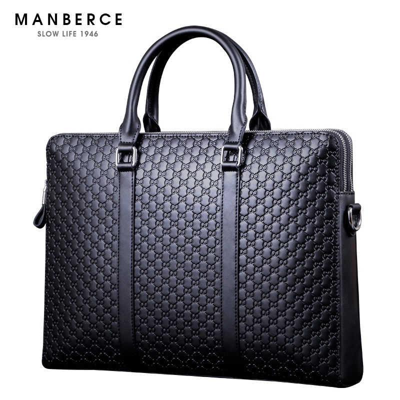 MANBERCE Brand Handbag Men Shoulder Bags Leather Briefcases Tote Bag Men's Messenger Bag Casual Vintage Travel Bag Free Shipping