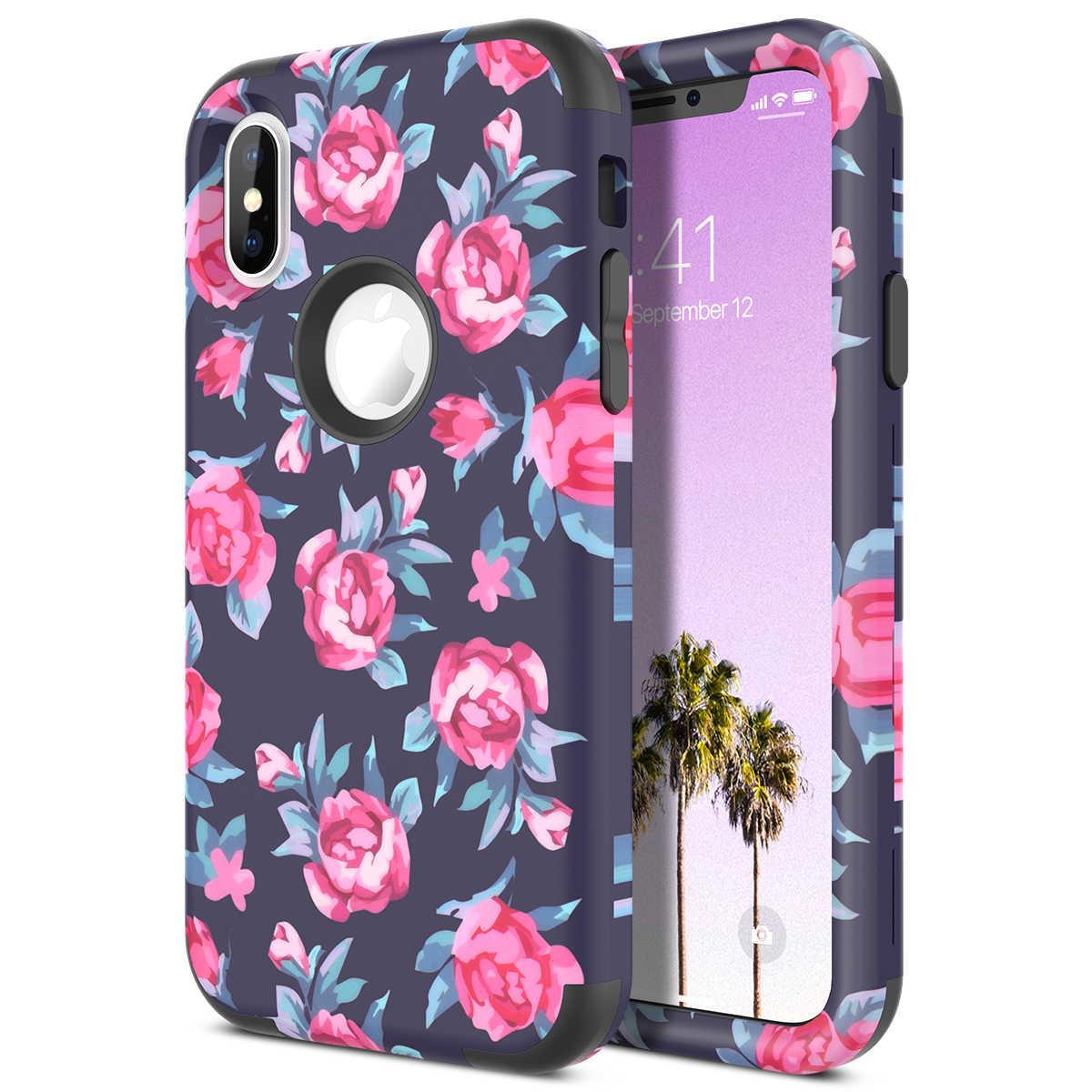 3 ใน 1 สำหรับ iphone XR ฝาครอบดอกไม้สำหรับลวดลายกันชน PC ซิลิโคนกันกระแทก Cover สำหรับ iphone xs X Max