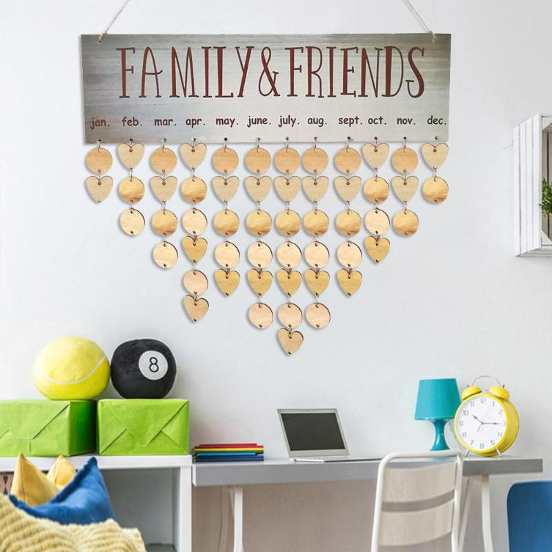 DIY Wooden Hanging Calendar ​Wall Calendar Sign Birthday Reminder Board Family Date Planner Sign Home Hanging Decor