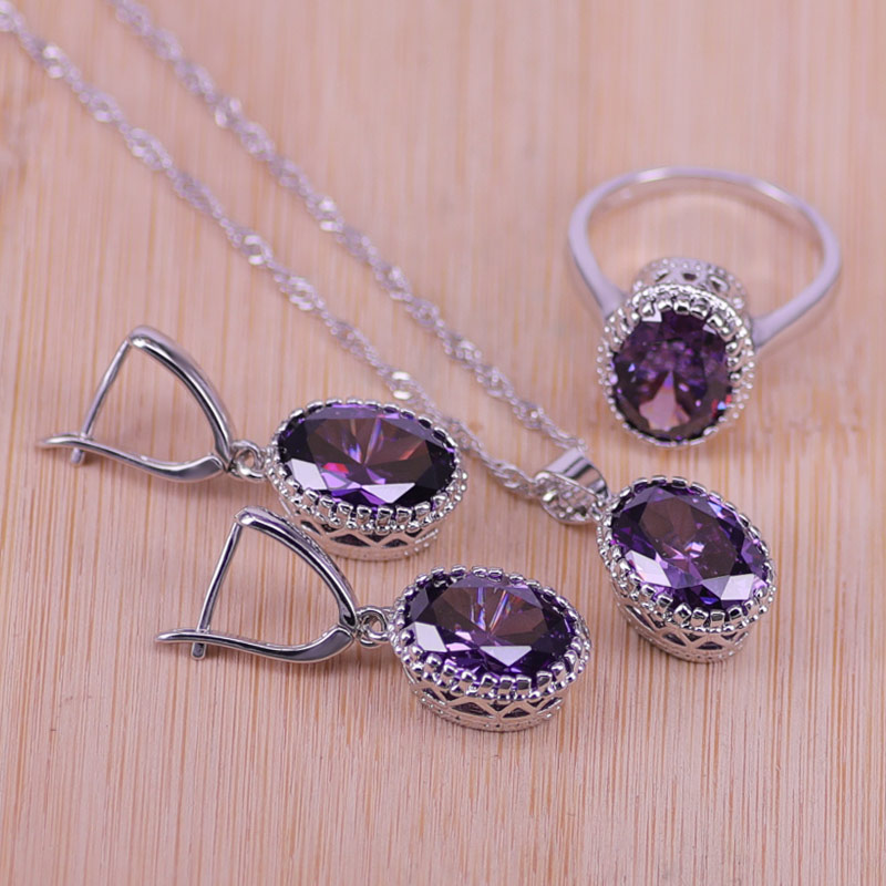 Top Quality Exquisite Purple Silver Color Women Wedding Necklace Earring Ring Zircon Crystal Costume Jewelry Sets