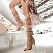 цена Sexy Apricot Gauze Thin High Heels Gladiator Sandals Women Pointed Toe Summer Cut Outs Boots Female Runway Party Shoes for women онлайн в 2017 году